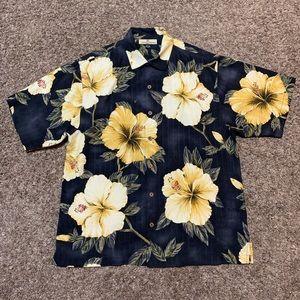 Tommy Bahama Silk Hawaiian Button Up Floral Design